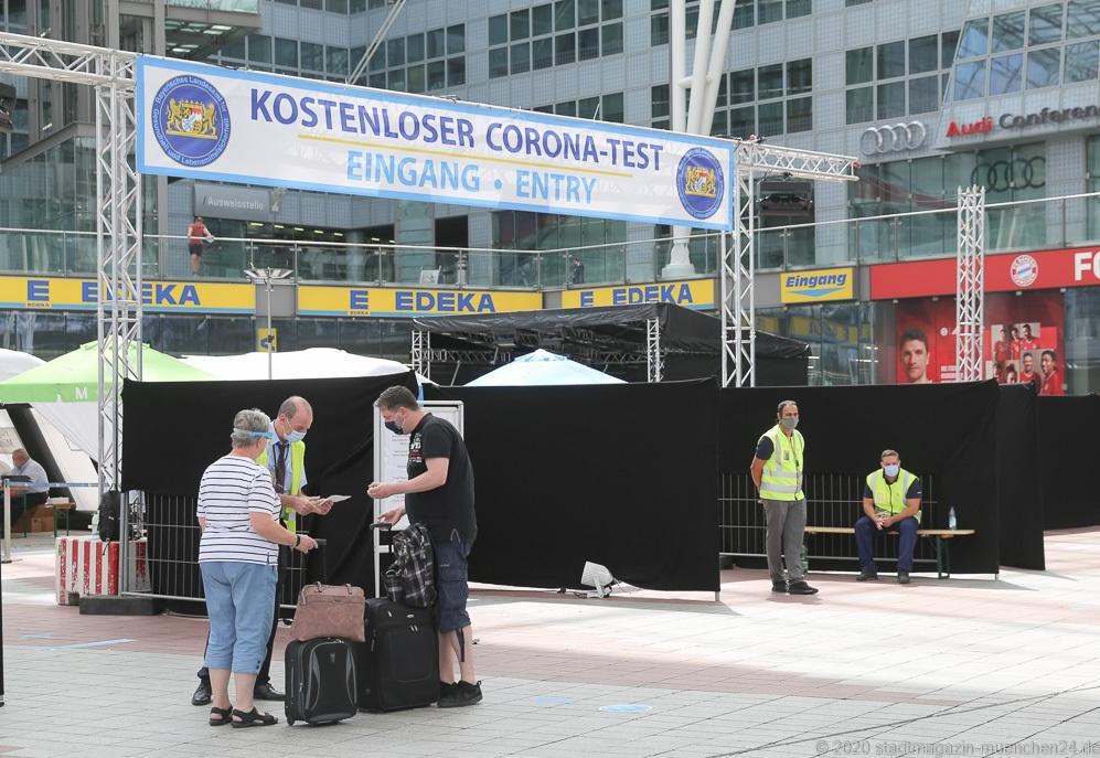 Corona Teststation am Flughafen in München 2020