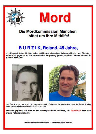 Fahndungsplakat Burzik Quelle Polizei München