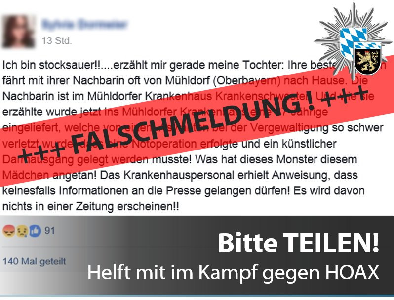 Tweet Falschmeldung Vergewaltigung Facebook Quelle Grafik Polizeipräsidium Oberbayern