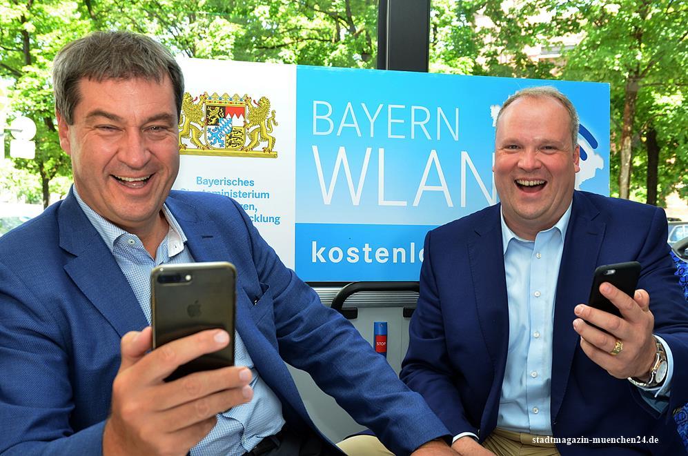 Finanzminister Markus Söder und Landrat Christoph Göbel starten WLAN in MVV Bussen in den Landkreisen München, Dachau und Freising