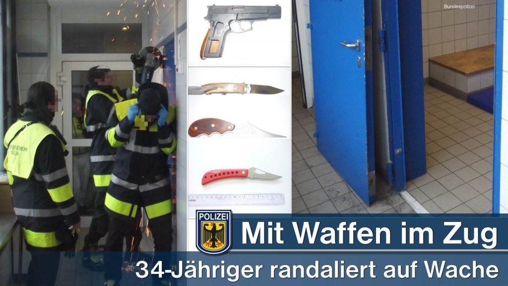 Mit Waffen im Zug und Haftzelle demoliert Quelle Foto Bundespolizei