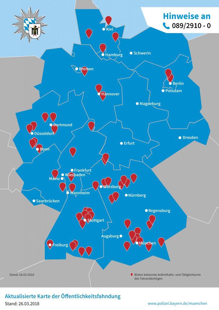 Aktualisierte Karte von Orten, in denen der mordverdächtige Altenpfleger in Deutschland tätig war