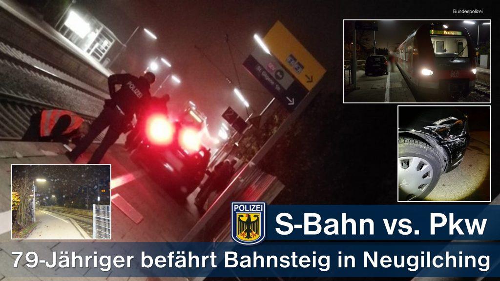 Senior fährt mit Auto in Neugilching auf S-Bahn Bahnsteig Quelle Foto: Bundespolizei München