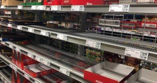 Leere Regale wegen Hamsterkäufen während der Coronakrise