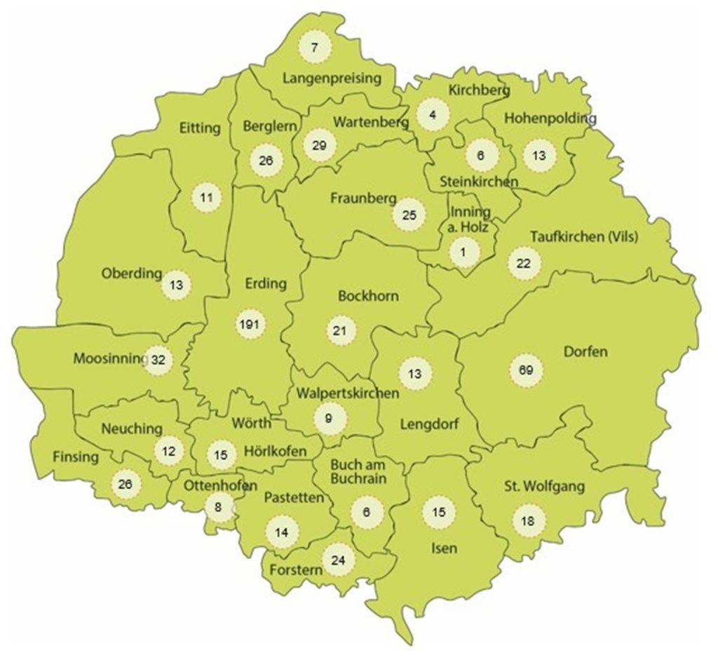 Karte Corona-Infektionen im Landkreis Erding, Quelle Landratsamt Erding